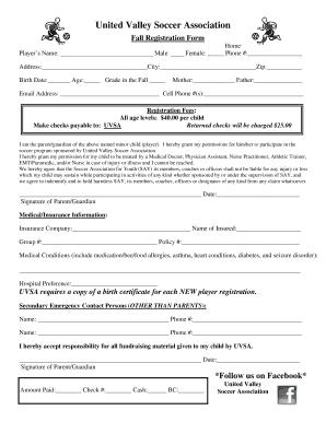 Registration Forms Pdf | Fall Registration Forms Pdf United Valley Soccer Fill Online