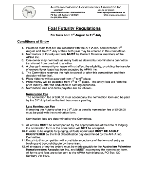 apha transfer form Fillable Online apha net Foal Futurity Regulations - Australian ...