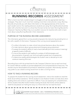 PURPOSE OF THE RUNNING RECORD ASSESSMENT