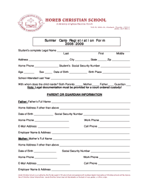 summer camp registration form pdf