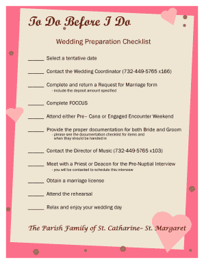 23 Printable complete wedding checklist Forms and Templates