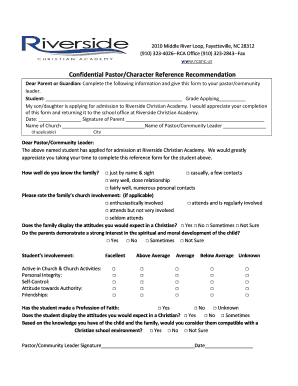 Character Recommendation Letter - Riverside Christian Academy - rcanc