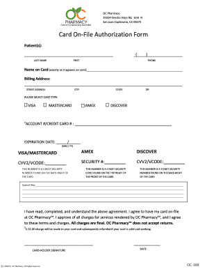 Credit Card On File Authorization Form Template Fillable - Credit card on file authorization form template