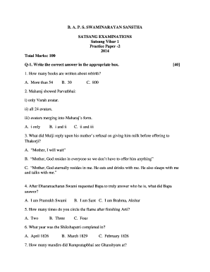 Satsang Vihar 1 Practice Papers - Fill Online, Printable, Fillable