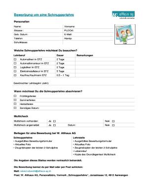 Bewerbung um eine Schnupperlehre - Althaus AG Fill Online, Printable ...