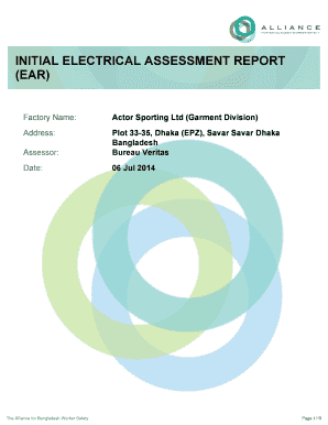 Fillable Online Initial Electrical Assessment Report Ear Factory