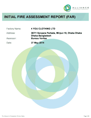 Fillable Online Initial Fire Assessment Report Far Factory Name 4