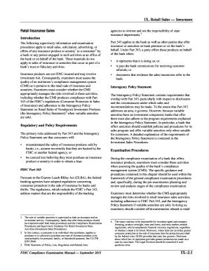 fillable online fdic ix retail sales insurance compliance rh pdffiller com fdic exam manual bsa fdic exam manual flood