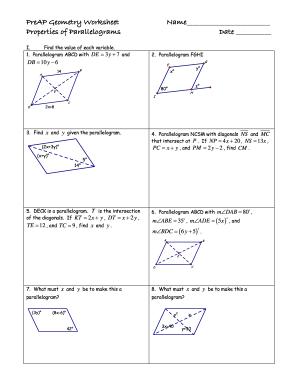 Properties Of Parallelograms Worksheet   Fill Online ...