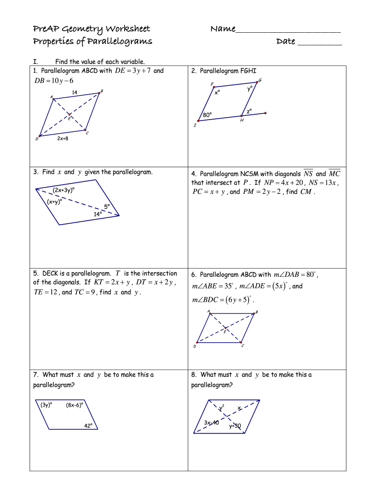 Properties Of Parallelograms Worksheet Doc - Fill Online Within Properties Of Parallelograms Worksheet