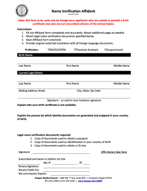 Name Verification Affidavit   Oregon.gov  Free Affidavit Template