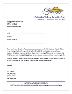 Donation thank you letter - Catawba Valley Aquatic Club - cvacswimming