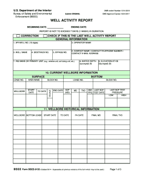 WELL ACTIVITY REPORT  Daily Activity Report Template