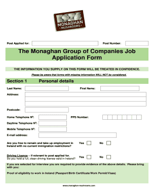 fillable online job application form template bmonaghanb