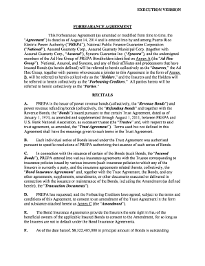EXECUTION VERSION FORBEARANCE AGREEMENT This Forbearance Agreement (as amended or modified from time to time, the Agreement) is dated as of August 14, 2014 and is entered into by and among Puerto Rico Electric Power Authority (PREPA), National Public