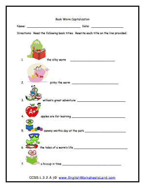 englishworksheetsland Fillable Online Book Worm Capitalization - English Worksheets Land ...