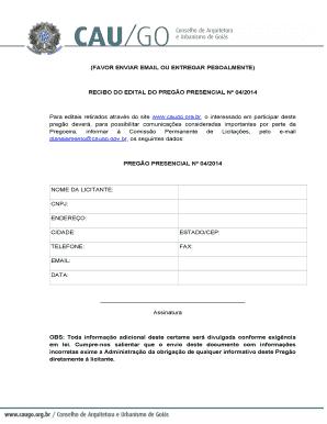 (FAVOR ENVIAR EMAIL OU ENTREGAR PESOALMENTE) RECIBO DO EDITAL DO PREGO  PRESENCIAL N 04