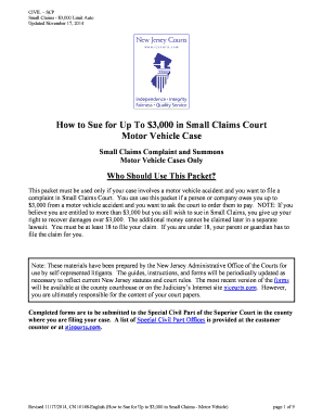 Fillable Online How to Sue for Up To 3000 in Small Claims Court ...