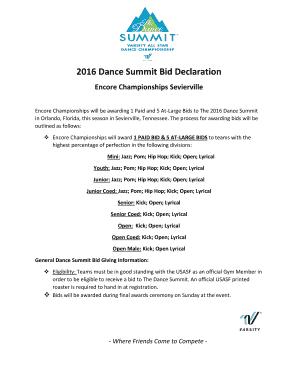 Fillable Online 2016 Dance Summit Bid Declaration Encore