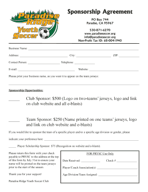Printable soccer club sponsorship proposal template - Edit