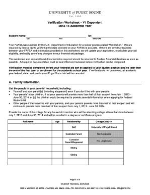 form verification worksheet v1 dependent 13 14 fill online printable fillable blank. Black Bedroom Furniture Sets. Home Design Ideas