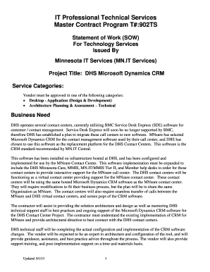 It Professional Technical Services Master Contract Program T 902ts Statement Of Work Sow