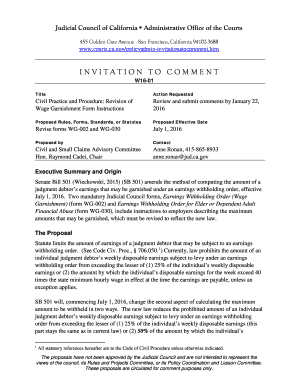 wage garnishment calculator california revision of wage garnishment form instructions