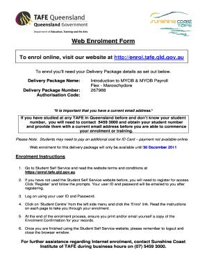 Web Enrolment Form V2 Template   Sunshinecoasttafeeduau  Enrolment Form Template