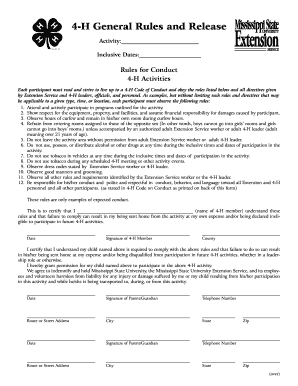 F0807 4-H General Rules and Release / Code of Conduct for 4-H Events. 4-H General Rules and Release / Code of Conduct for 4-H Events