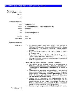 Fillable Online Amministrazionetrasparente Unipmn Formato Europeo