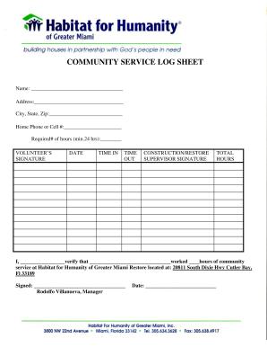 community service log sheet Fillable Online COMMUNITY SERVICE LOG SHEET - Habitat for Humanity ...