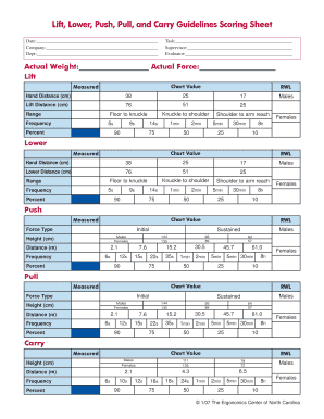 Por Weight Lifting Chart Forms Lift Lower Push Pull Carry Guidelines Scoring Sheet Metric Pdf