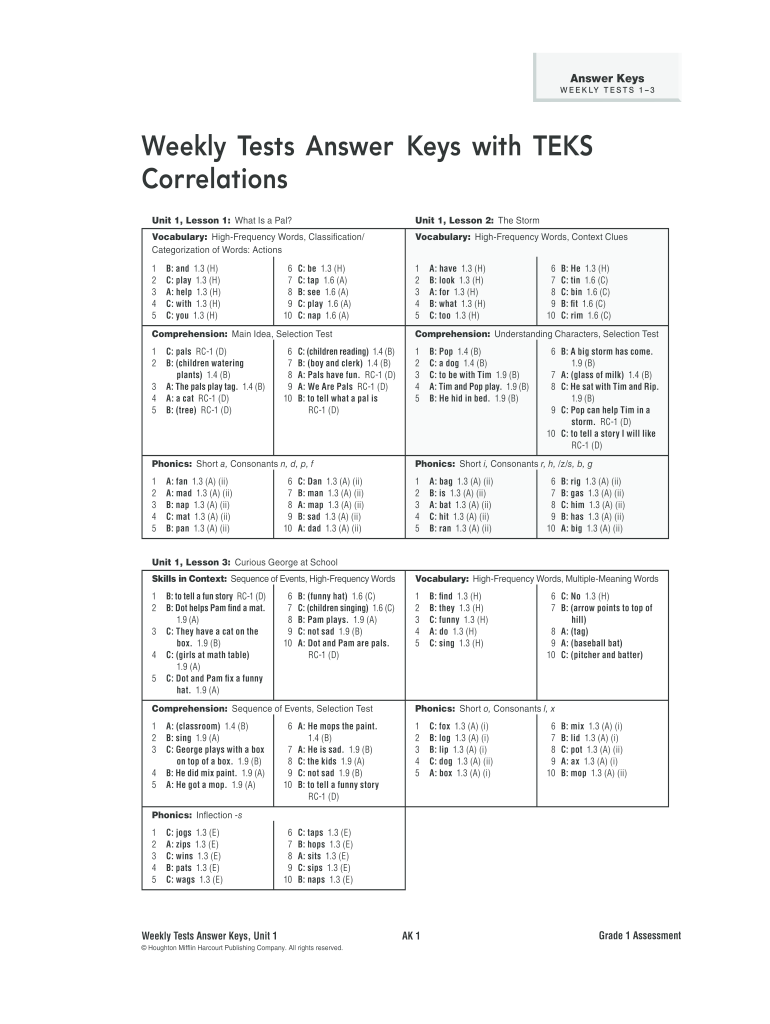 Journeys Grade 3 Weekly Tests Answer Key Pdf - Fill Online ...