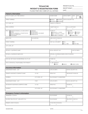 Editable Patient Registration Form Template Pdf Fill Out Print