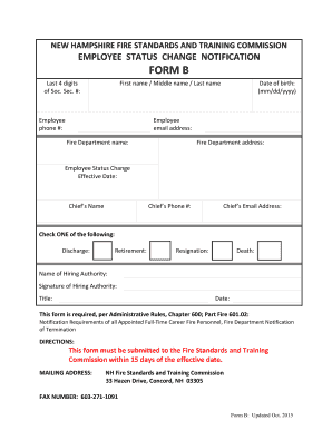 employee status change form template - Fill, Print & Download ...