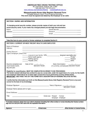 Fillable Online Massachusetts Nurse Aide Registry Renewal Form Fax ...