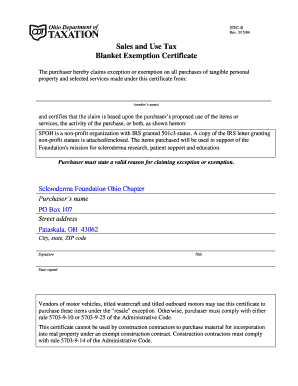 ohio sales and use tax construction contract exemption certificate