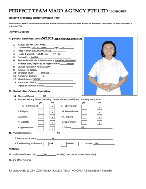 how to fill bio data of foreign domestic worker fdw form