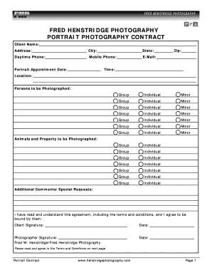 FRED HENSTRIDGE PHOTOGRAPHY PORTRAIT PHOTOGRAPHY CONTRACT