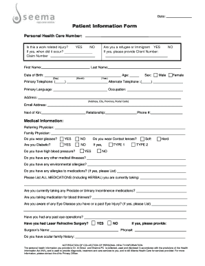 Editable patient information forms and Document Templates