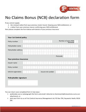 fillable online no claims bonus ncb declaration form 1st. Black Bedroom Furniture Sets. Home Design Ideas