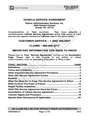 Simple service agreement forms and templates fillable printable vehicle service agreement palmer administrative services inc platinumwayz