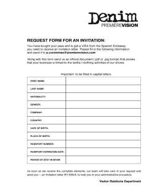 REQUEST FORM FOR AN INVITATION - DENIM PREMIERE VISION