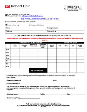 robert half timesheet Fillable Online TIMESHEET Fax or email no later than 12pm Tuesday ...