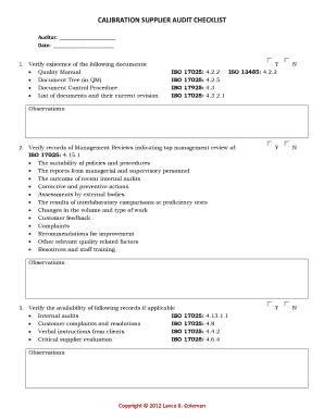 supplier audit check list
