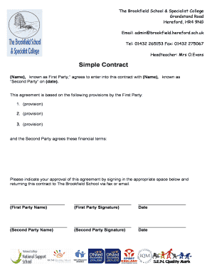 Simple Contract - brookfieldherefordschuk - brookfield hereford sch