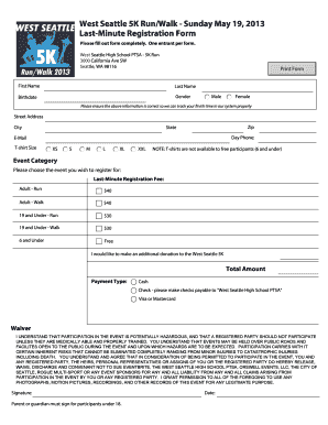 West Seattle 5K Run/Walk Sunday May 19, 2013 LastMinute Registration Form Please fill out form completely
