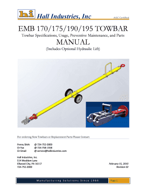 Fillable Online EMB 170175190195 TOWBAR MANUAL - Hall Industries Fax