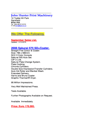 Fillable Online jhpm co John Hunter Print Machinery We Offer The