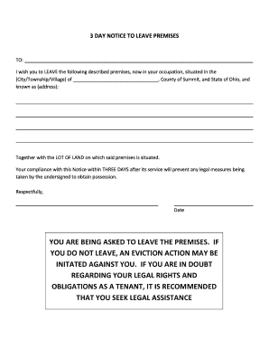 Editable (3 day eviction notice form ohio) - Fill Out Best ...